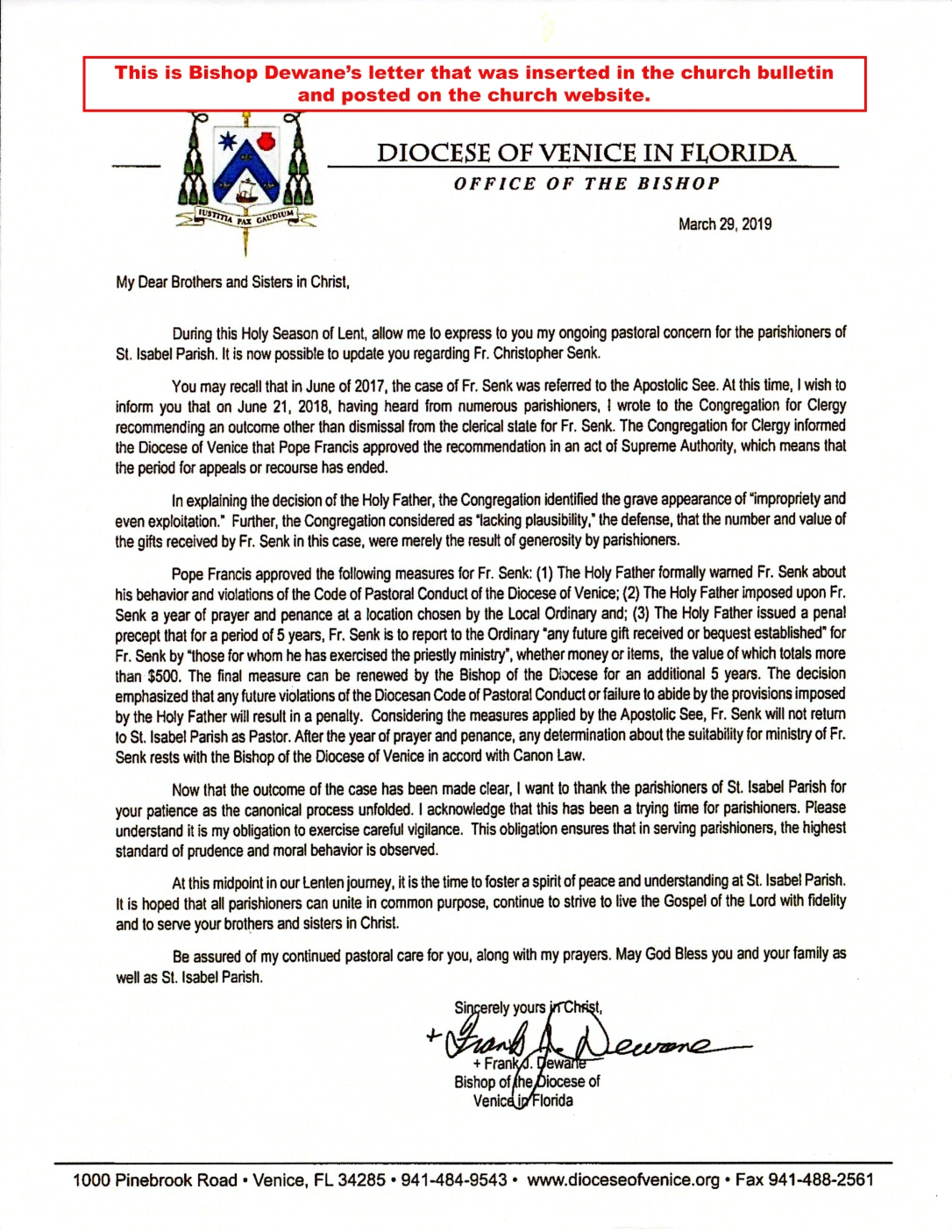 Letter to parish Mar 2019 B