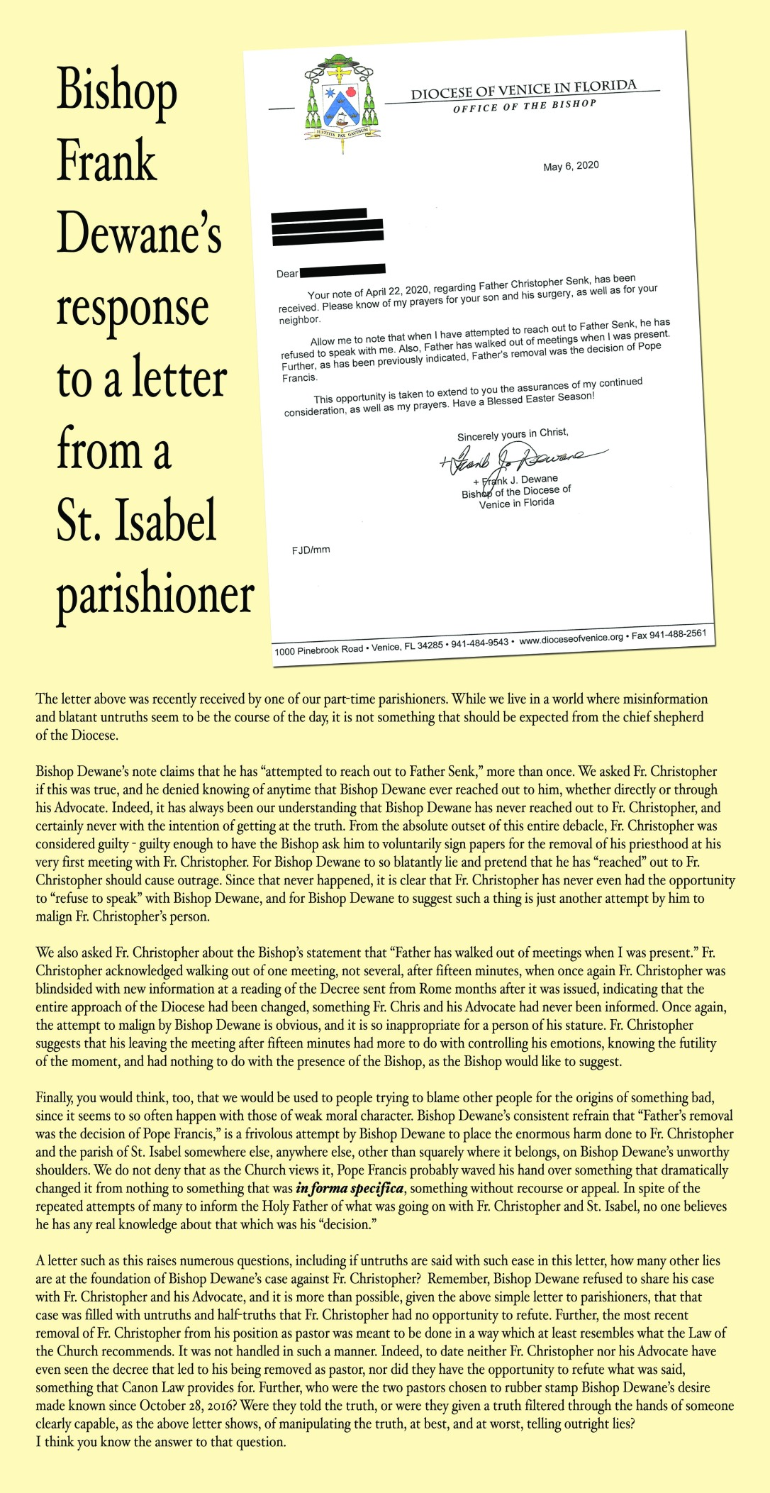 May 6 letter, response